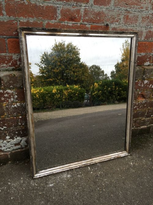 a stunning antique 19th century french carved wood gesso original silvered thin plain bistro mirror