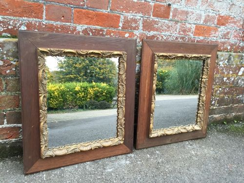 an unusual pair of antique 19th century french oak gilt distressed framed mirrors