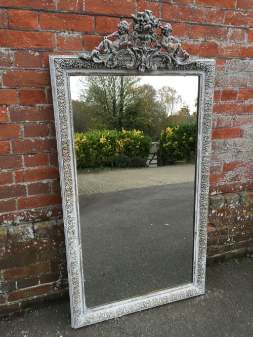 a stunning highly decorative large antique 19th century french carved wood gesso distressed painted gilt mirror
