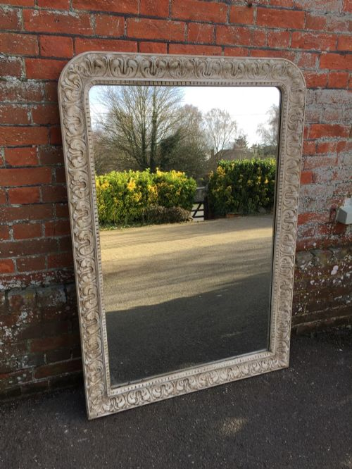 a wonderful large antique 19th century french carved wood and gesso painted mirror