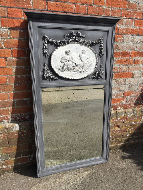 a fabulous antique 19th century french carved wood and gesso distressed painted mirror