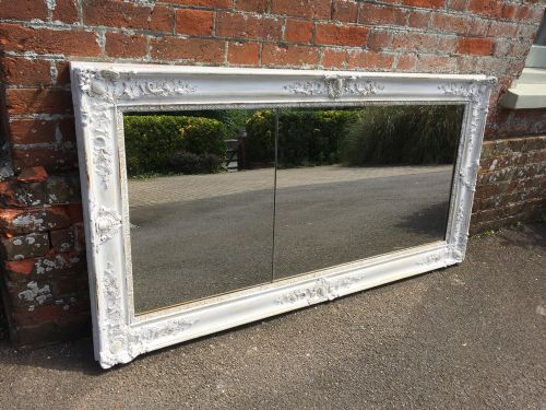 a very useful size early antique 19th century french carved wood and gesso painted louis philippe mirror