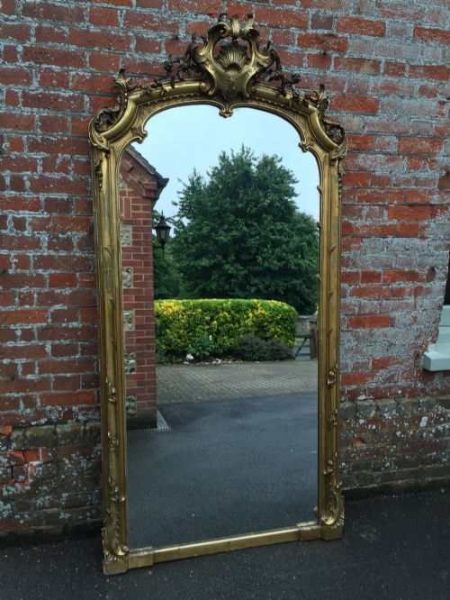 a superb large antique 19th century french carved wood and gesso original gilt mirror