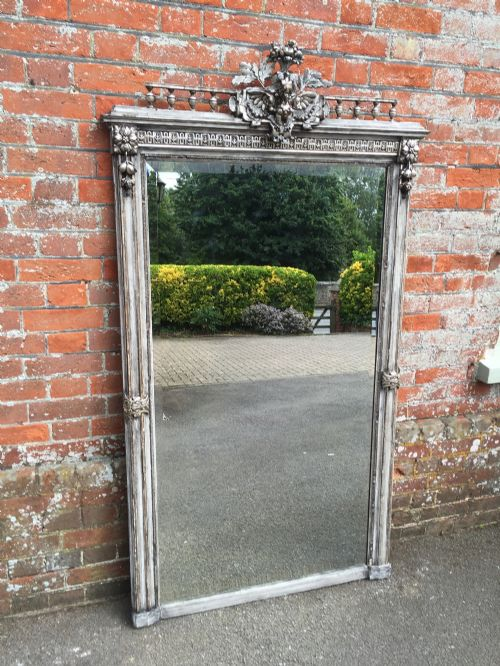 Antique brass floor standing mirror