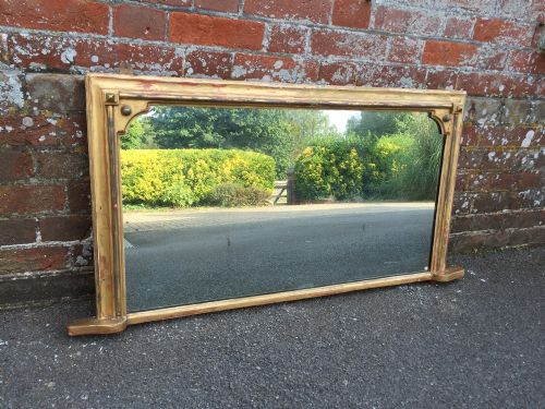 a very useful antique 19th century carved wood gesso original distressed gilt english overmantle mirror