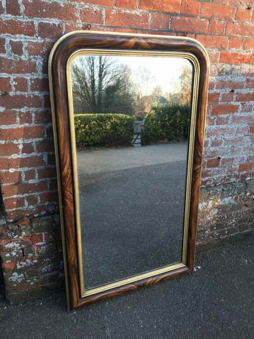 a fabulous large antique 19th century french carved wood gesso original arched top gilt faux painted mirror