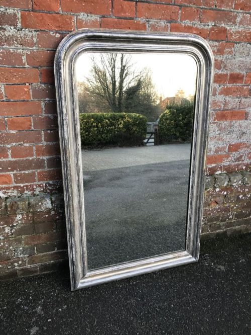 a superb antique large 19th century french carved wood gesso original silvered louis philippe arched mirror