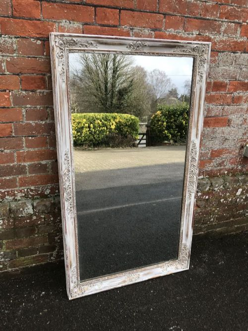 a wonderful early antique 19th century french carved wood gesso distressed painted louis philippe mirror