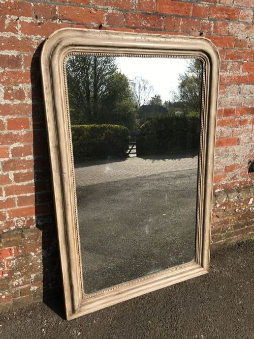 a highly useful arched top louis philippe antique 19th century french carved wood painted plain mirror
