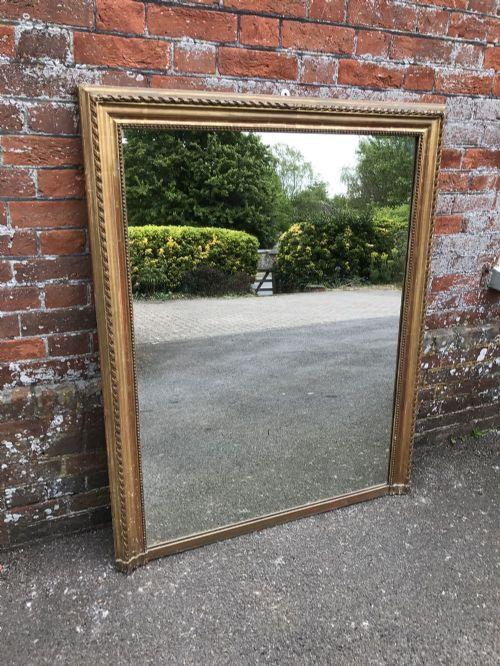 a wonderful antique 19th century french carved wood gesso original gilt rope twist framed plain mirror