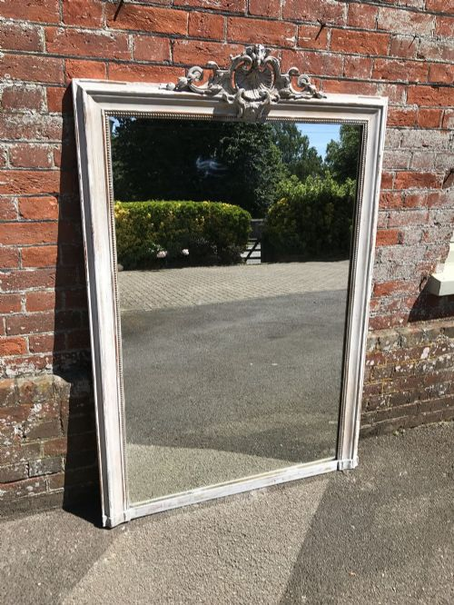a wonderful highly decorative large antique 19th century french carved wood gesso distressed painted mirror