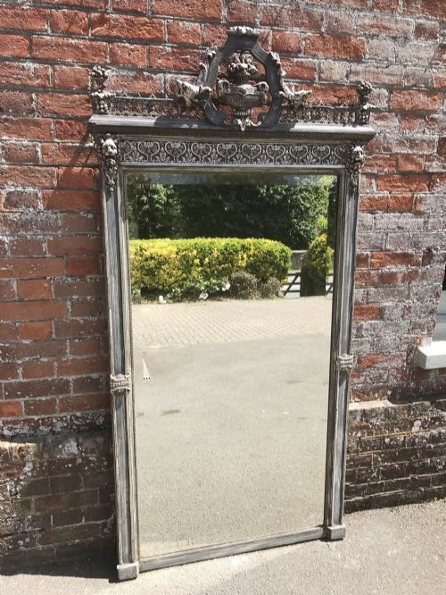 a stunning large antique 19th century french original silvered and painted carved wood gesso mirror