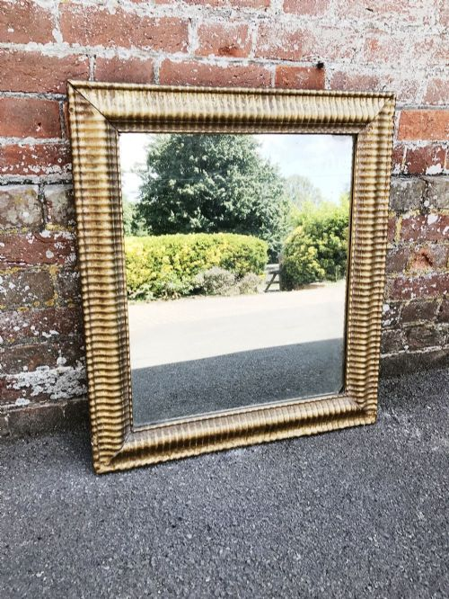 a fabulous antique 19th century french carved wood gesso original gilt ribbed bistro mirror
