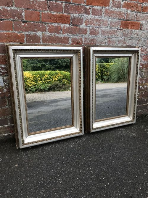 a stunning highly unusual pair of antique 19th century french carved wood gesso original silvergilt bistro mirrors