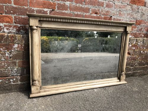a wonderful very useful size antique 19th century english carved wood painted overmantle mirror