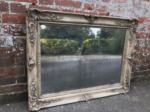 a wonderful early antique 19th century french carved wood and gesso distressed silvered louis philippe mirror