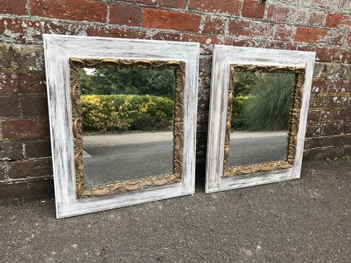 an unusual pair of antique 19th century french painted gilt distressed framed mirrors