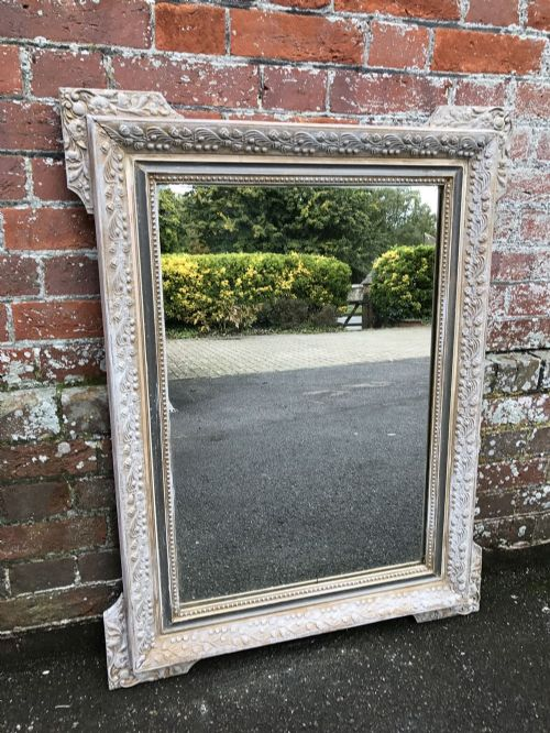 a highly useful size antique 19th century french carved wood gesso original silvered painted mirror