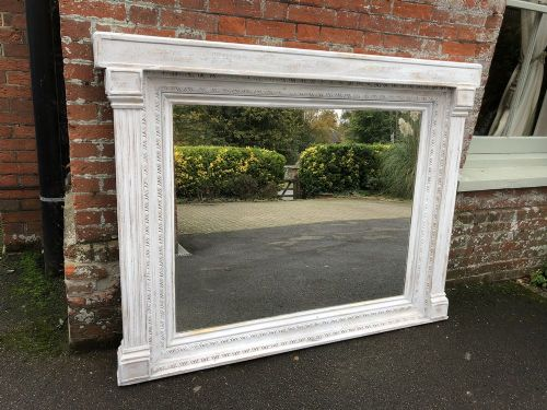 a highly decorative large early 20th century english original carved wood and gesso painted tabernacle mirror
