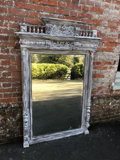 an exquisite large antique 19th century french carved wood distressed painted mirror