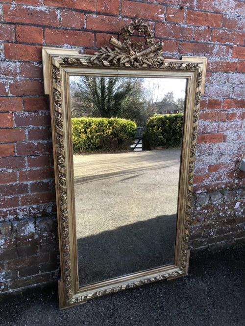 a superb large antique 19th century french carved wood gesso original gilt rope twist mirror