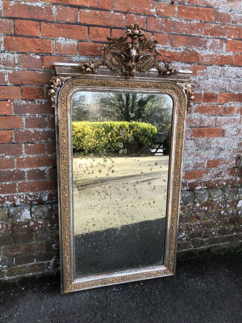 a wonderful highly unusual large antique 19th century french carved wood and gesso original silvergilt mirror