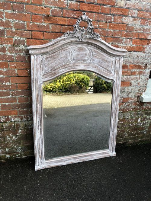 a stunning large highly decorative shaped top antique 19th century french carved wood distressed painted mirror