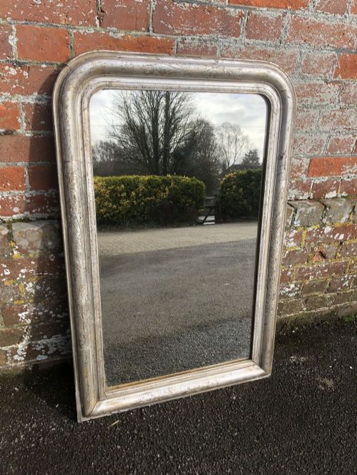 a highly useful size early antique 19th century french carved wood gesso original silvered etched framed arched top louis philippe mirror
