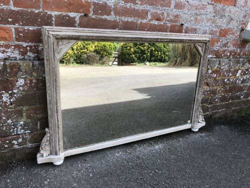 a delightful highly useful size antique 19th century english carved wood gesso painted overmantel mirror