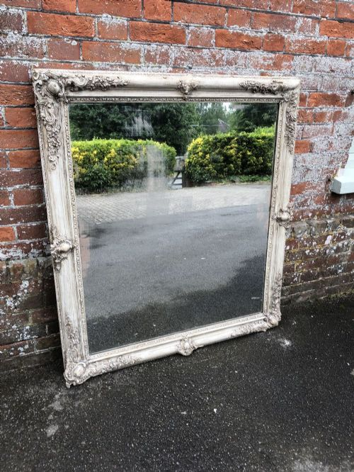 a very useful large early antique 19th century french carved wood gesso painted louis philippe mirror