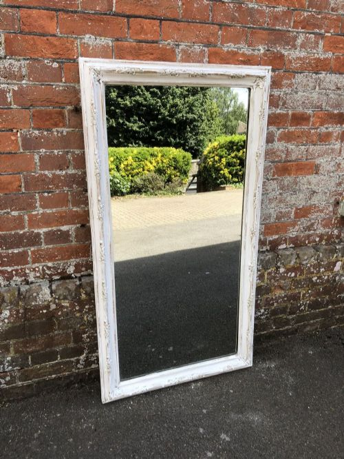 a wonderful good size antique 19th century french carved wood and gesso distressed painted ornate framed mirror