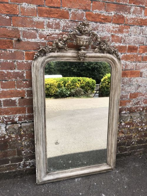 a fabulous antique 19th century french carved wood and gesso painted arched top mirror