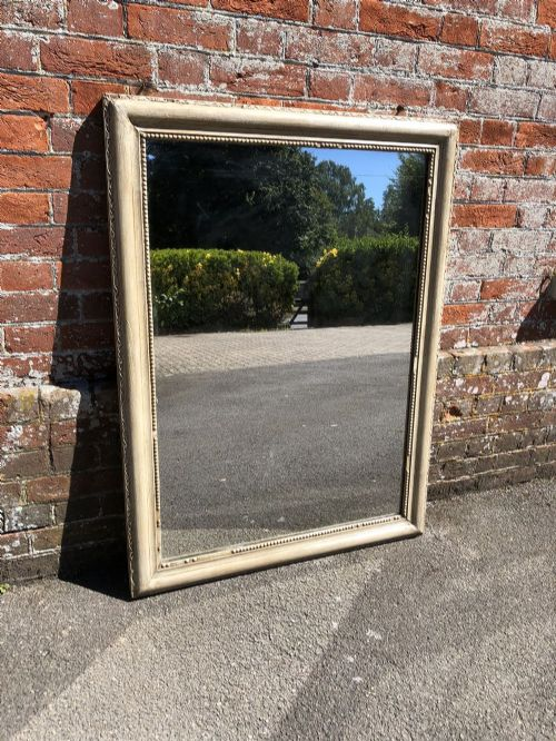 a wonderful good size antique 19th century french carved wood painted plain mirror
