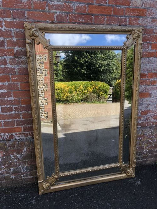 an absolutely stunning large antique french mirorr19th century carved wood gesso original gilt cushion mirror