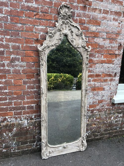 a superb large antique french mirror 19th century carved wood gesso shaped top painted ornate pier mirror