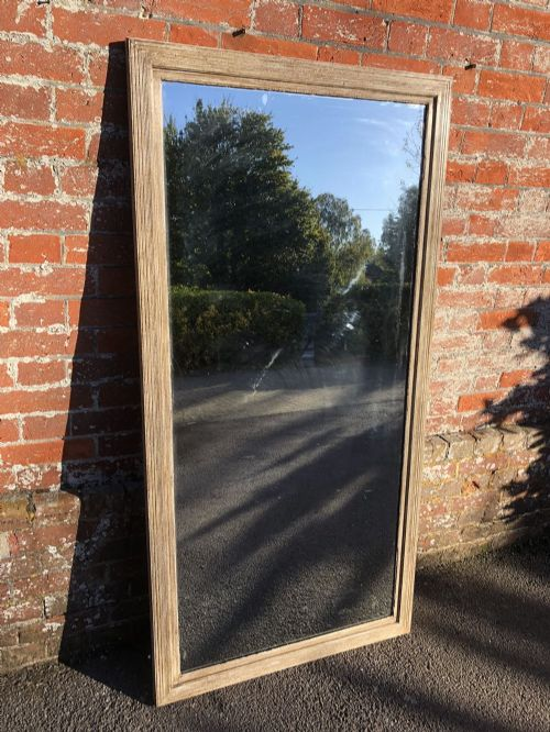 a superb antique french mirror 19th century carved wood painted ribbed framed plain bistro mirror