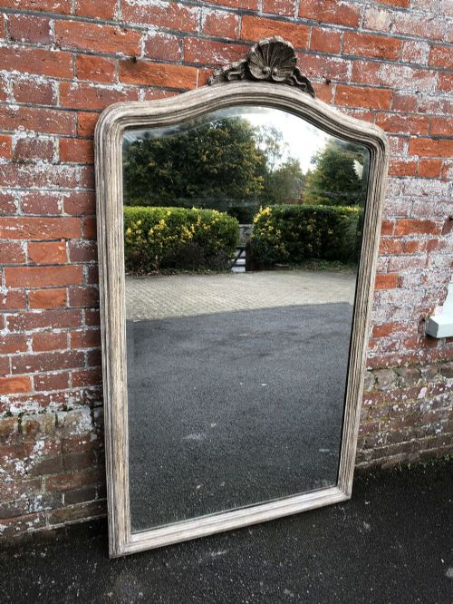 a stunning large antique french mirror 19th century carved wood distressed painted shaped top mirror
