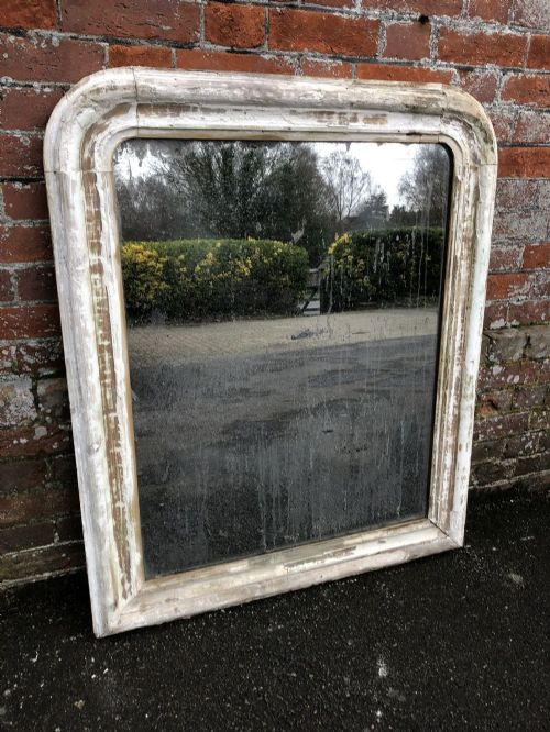 a delightful antique french 19th century carved wood and gesso arched top distressed louis philippe mirror