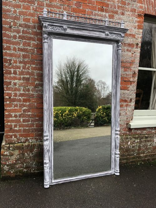 an absolutely stunning extra large antique french 19th century carved wood distressed painted column mirror