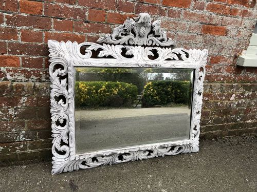 a highly useful size antique french 19th century carved wood distressed painted ornate mirror