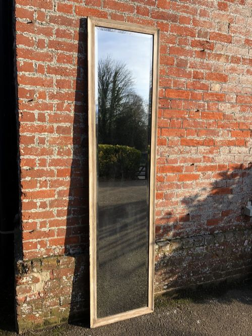 a fabulous large antique french 19th century carved wood gesso narrow framed painted bistro mirror