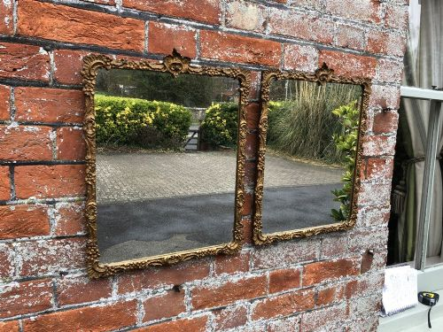 a highly useful pair of antique french carved wood gesso orignal gilt mirrors