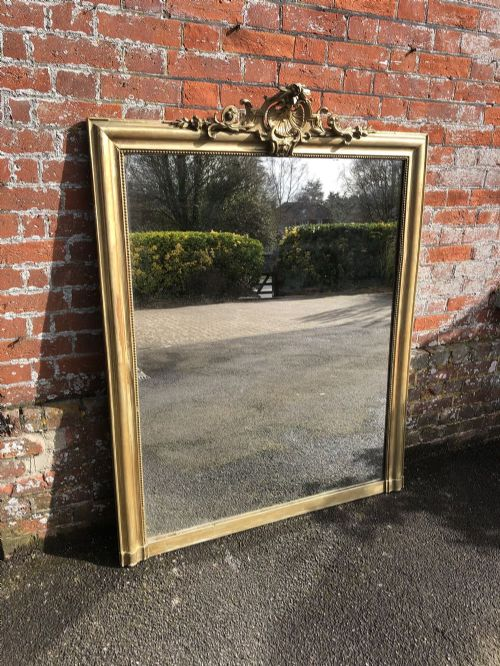 a fabulous large antique french 19th century carved wood and gesso orignal gilt mirror