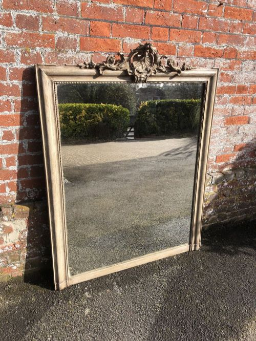 a wonderful large antique 19th century french carved wood gesso painted mirror