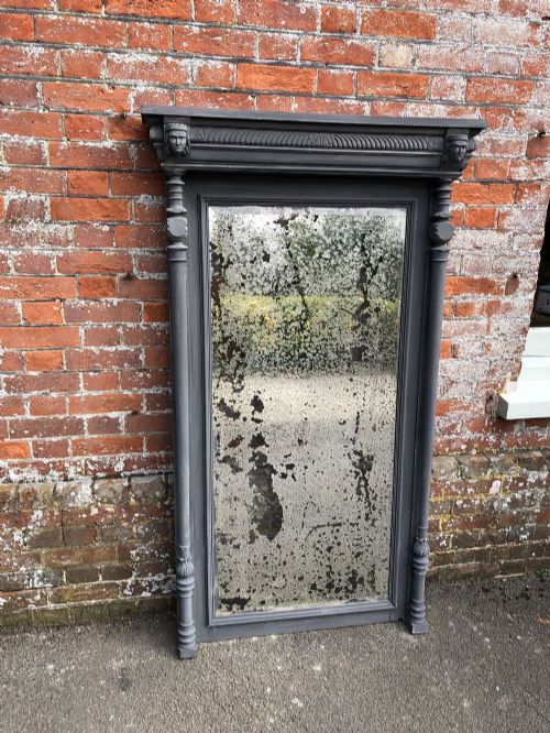 a highly decorative large antique 19th century french painted carved wood mirror