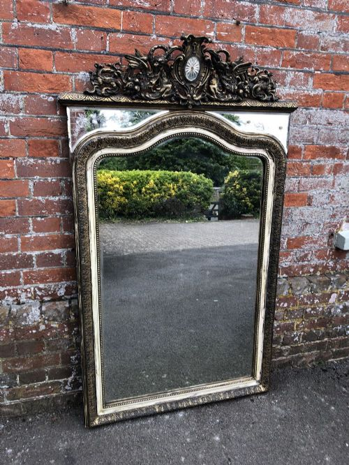 an absolutely fabulous large highly unusual antique french 19th century carved wood gesso shaped top frame mirror