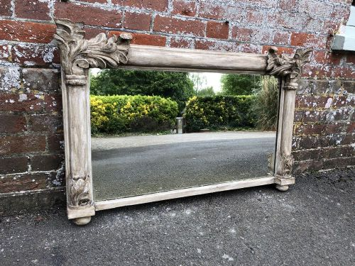 a wonderful antique french 19th century carved wood painted overmantle mirror