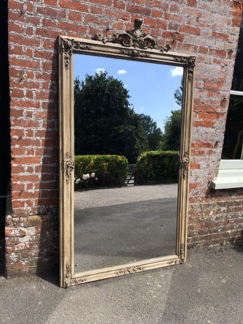 an absolutely stunning large antique french 19th century carved wood and gesso painted mirror