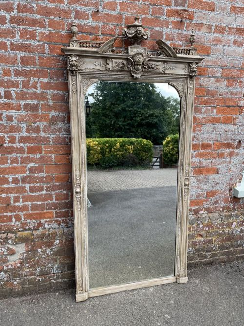 a fabulous large antique french ornate 19th century carved wood gesso painted mirror