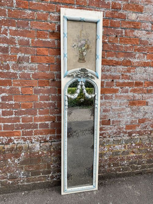 a fabulous large antique french 19th century carved wood and gesso original painted pier mirror